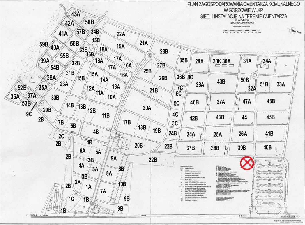 Plan cmentarza Gorzów przy ul. Żwirowej